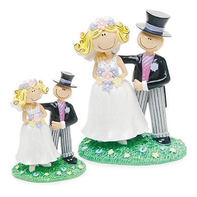 Novios de colores para el pastel de boda
