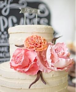 Pastel de Boda con flores-ch