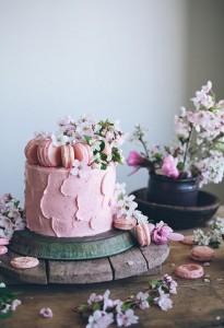 Pastel de boda un piso rosa