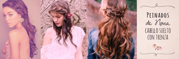 17 Peinados de Novia: Cabello suelto con Trenza