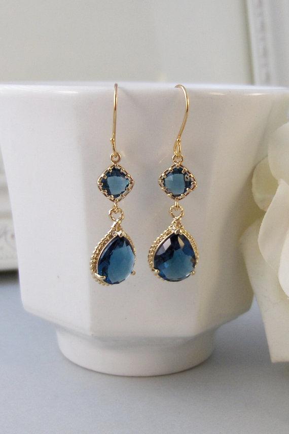 Aretes de Novia en color azul