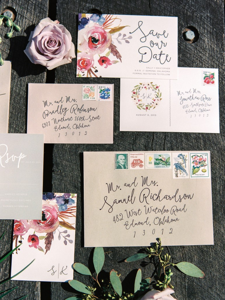 invitacin de boda con flores en acuarela