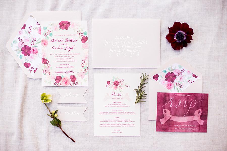 Invitación de Boda con flores en color rosa