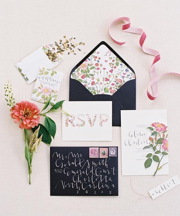Invitacion de Boda con caligrafia y flores