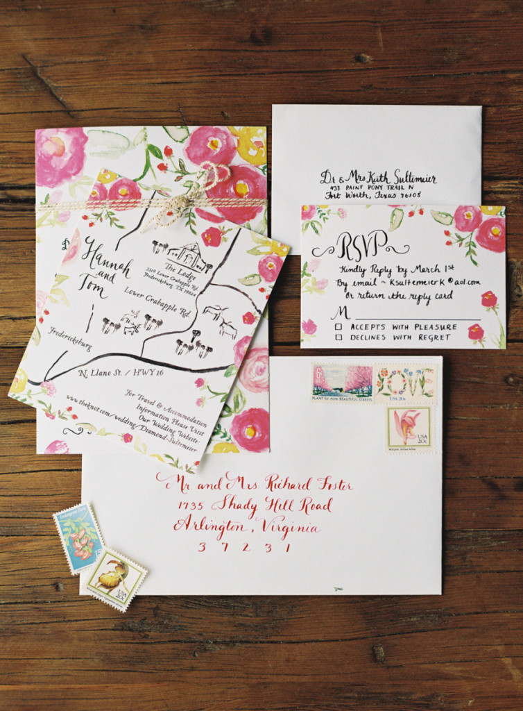 Invitacion de Boda con flores pintadas