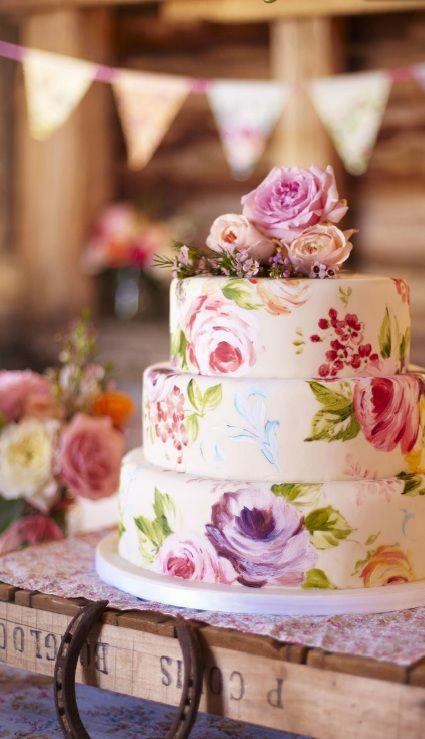 Pastel de Boda pintado a mano flores