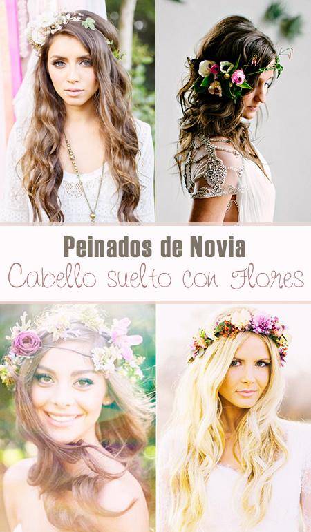 Peinados de Novia: Cabello Suelto con Flores