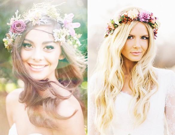 Peinados de novia con corona de flores