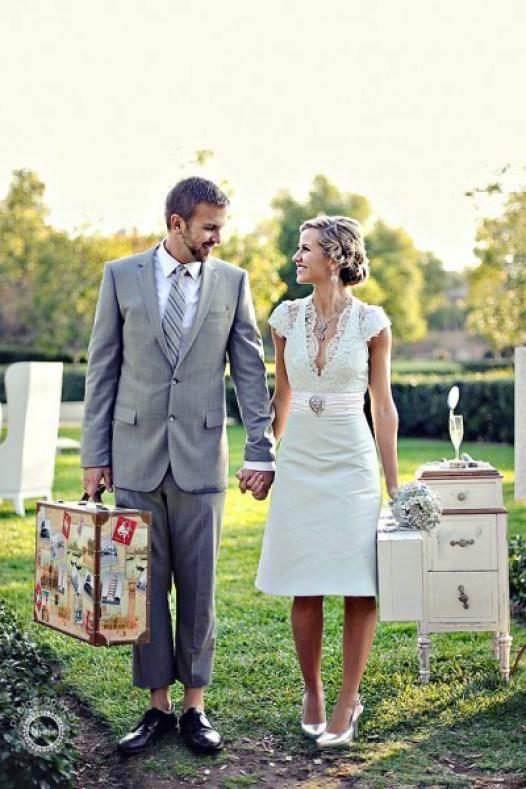 Vestido de novia corto entallado