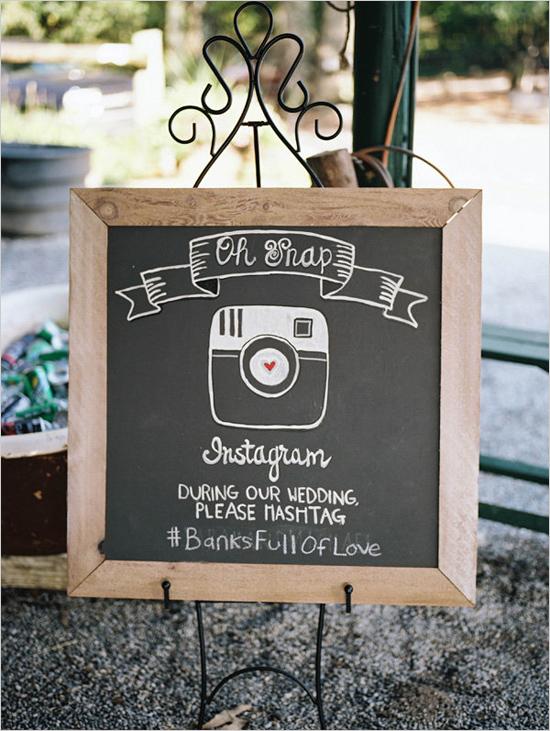 Letrero de Instagram en pizarra y gis