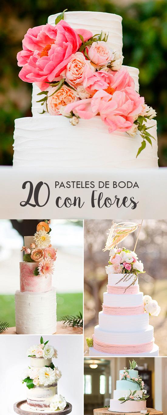 20 Pasteles de Boda adornados con Flores