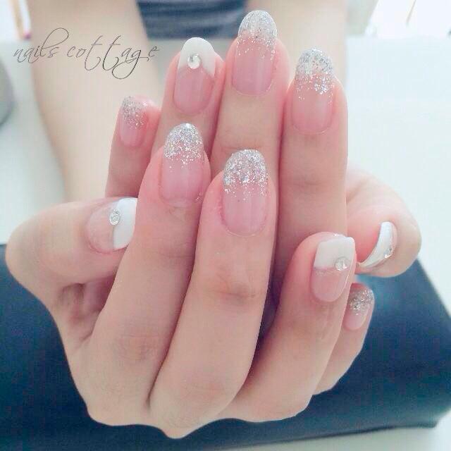 Uñas de Novia con Glitter