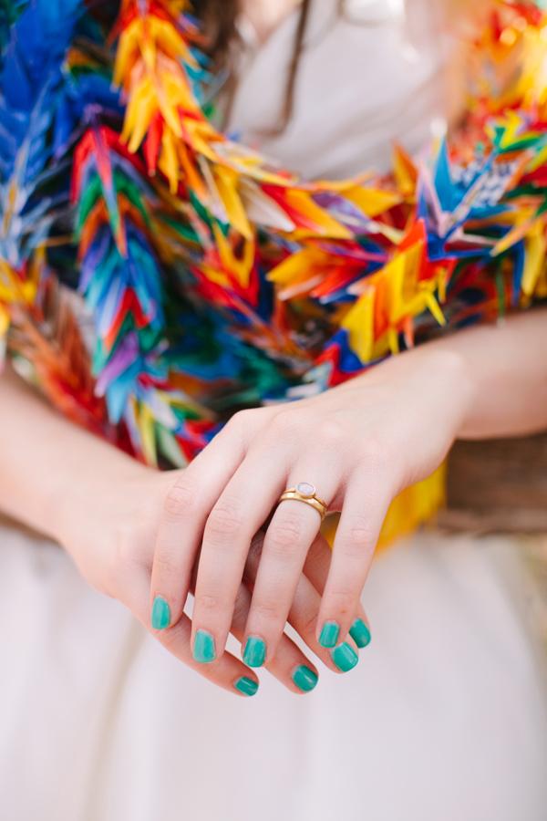 Uñas de Novia en color azul turquesa