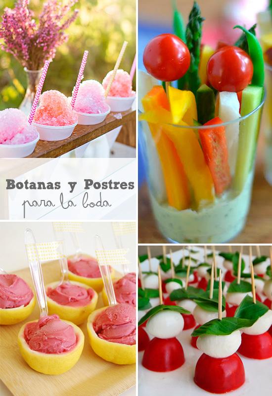 Ideas de Botanas y postres para los invitados de la Boda