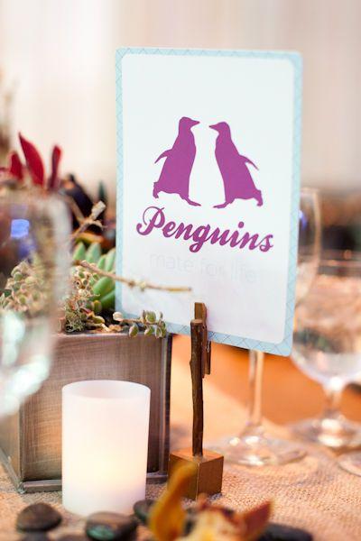 Usa nombres de Animales para nombrar las mesas de la boda