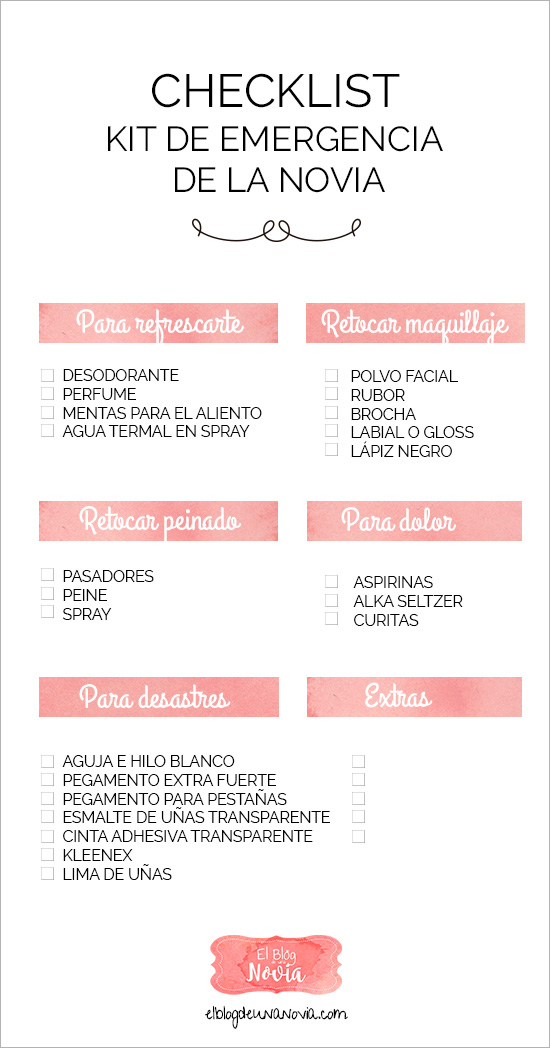 "Checklist: Lo indispensable par el ""Kit de Emergencia de la Novia"""