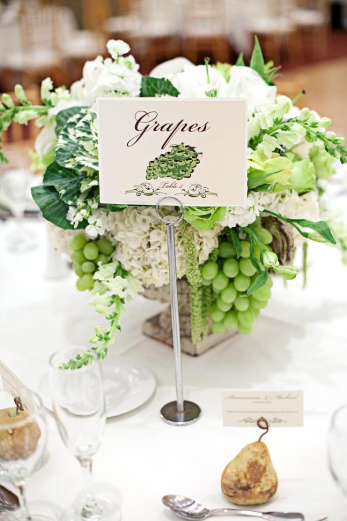 Nombrar las mesas de la boda Con frutas