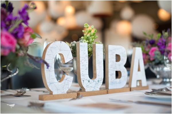 Nombra las mesas de la boda con Nombres de paises