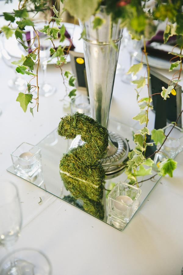Números para las mesas de la boda con musgo