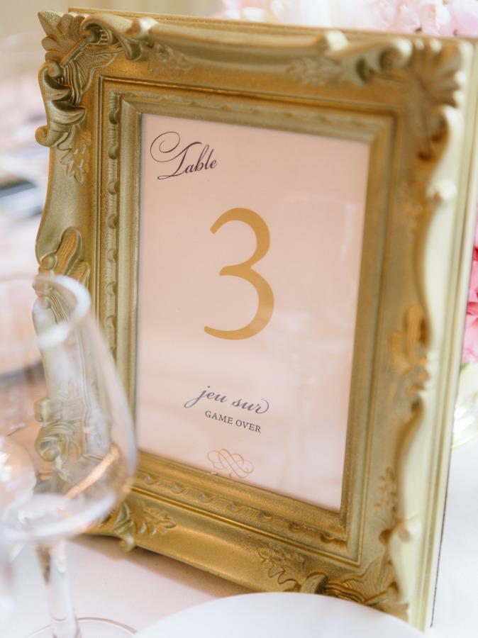 Números para las mesas de la boda en marcos