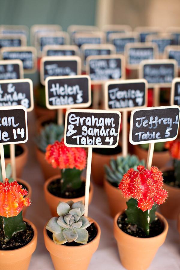 Plantitas para indicar las mesas de los invitados
