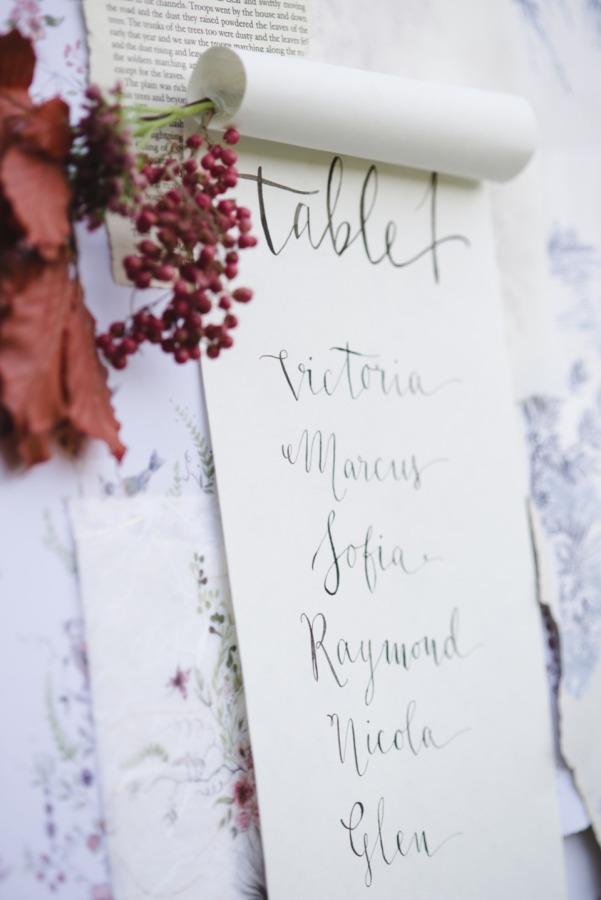 Tablero en papel con numero de mesa y nombres de los invitados