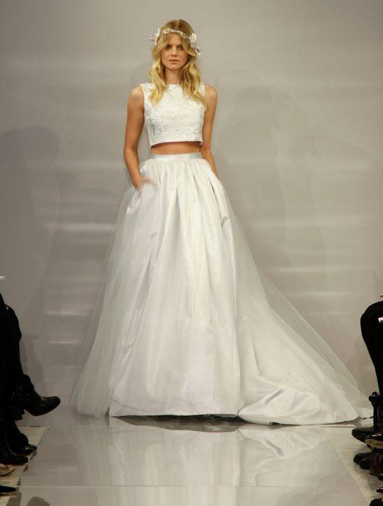 Vestido de novia dos piezas top corto