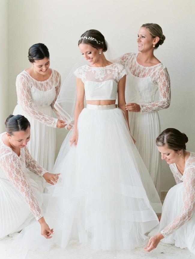 Vestido de novia en piezas separadas