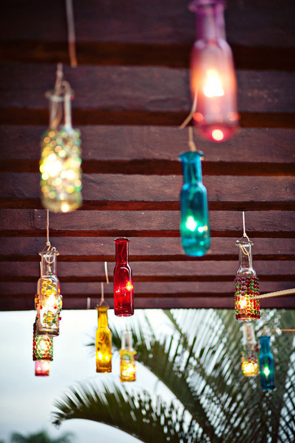Boda estilo mexicano - Decoración de botellas de colores