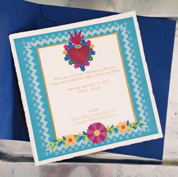 Invitación inspirada en el arte de México - Frida y Diego