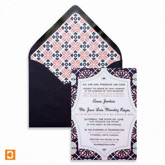 Invitacion de boda mexicana estilo talavera-