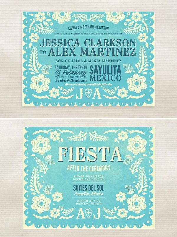 Invitaciones de Boda inspiradas en el papel picado mexicano