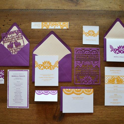 Invitaciones de boda estilo mexicano - papel picado