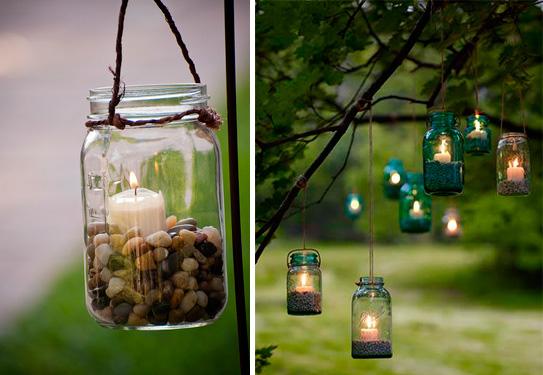 Decora la boda con linternas hechas con frascos y velas