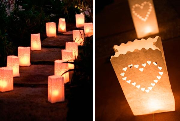 Decora la boda con luminarias de papel y velas