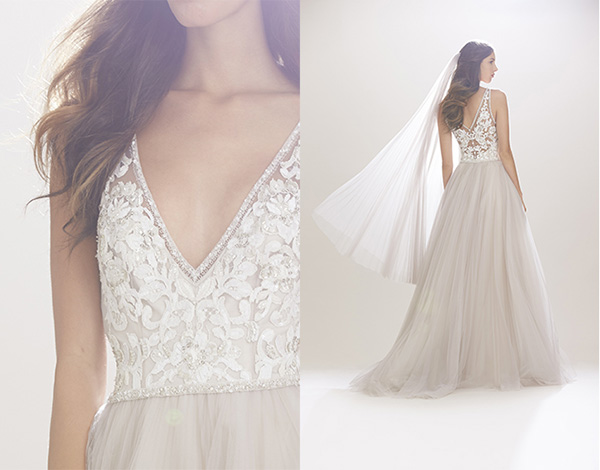 Detalles de vestido estilo princesa de Carolina Herrera