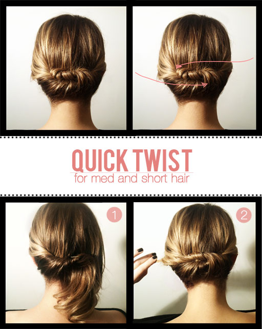 Recogido con torciditos para cabello corto a los hombros