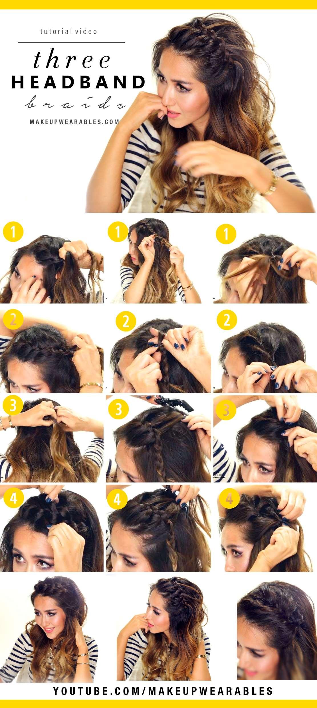 Cómo hacer una diadema de trenza en tres diferentes versiones | 7 Tutoriales de peinados fáciles