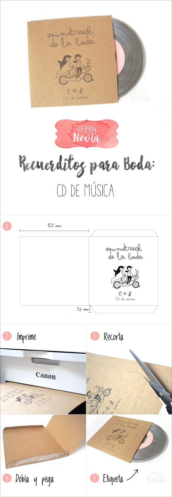 DIY Cd de música para los invitados como recuerdo de boda