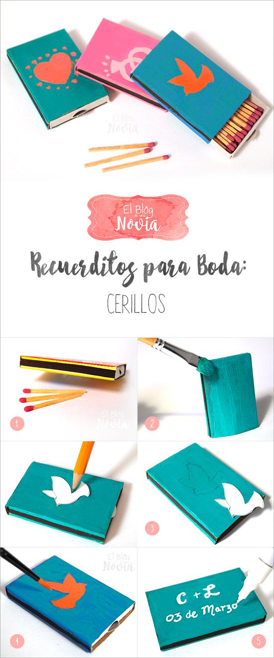 DIY Cerillos personalizados como recuerdo de boda