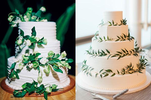 Pasteles de boda con hojas verdes
