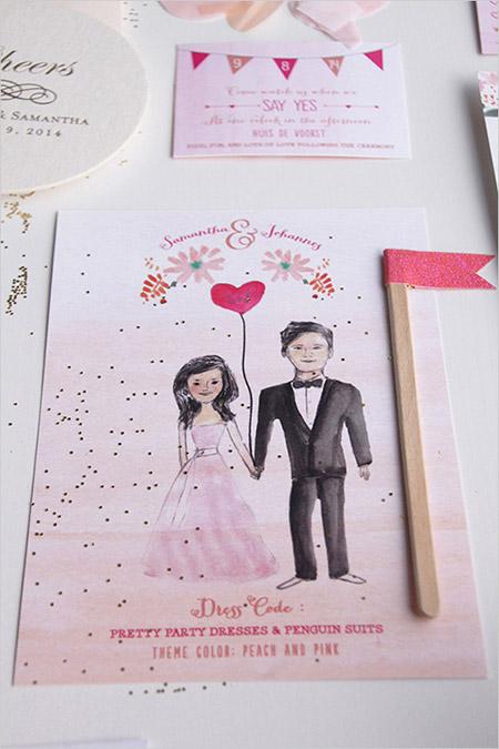 Invitacion de boda con ilustracion de los novios