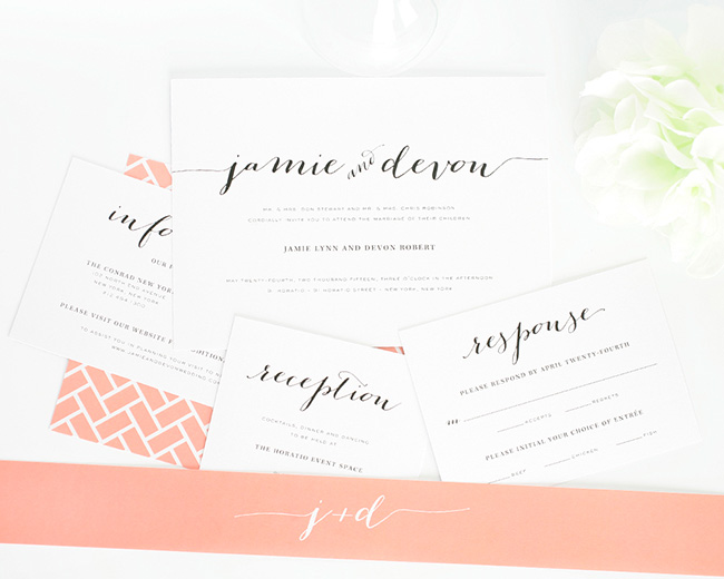 Invitaciones de boda color coral