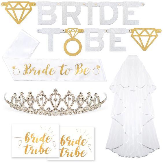 Letrero Bride to Be y accesorios para la novia
