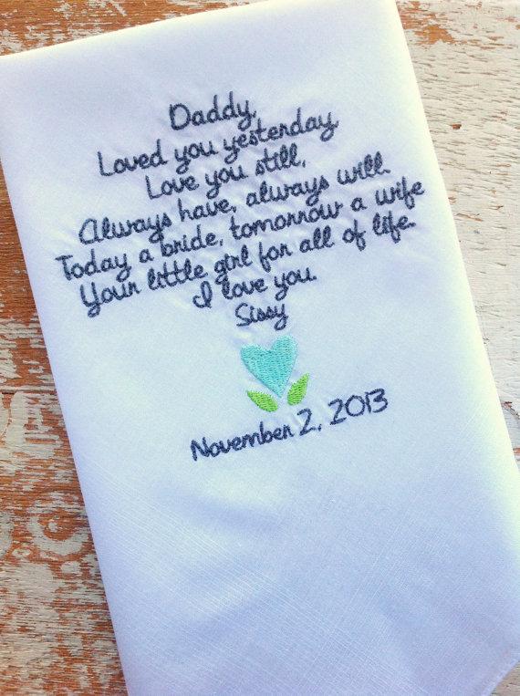 Pañuelo con un mensaje personalizado para el papá de la novia
