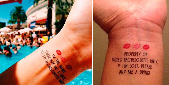 Tatuajes temporales para la despedida de soltera