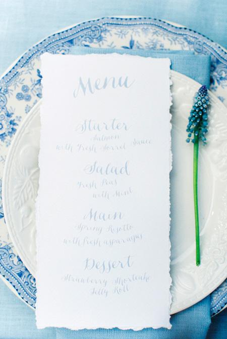 Menú para la boda en color azul: Colores de Boda 2016