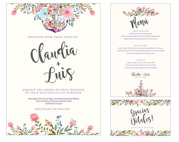 Haz tu misma las invitaciones, menus y tarjetas de agradecimiento para la boda