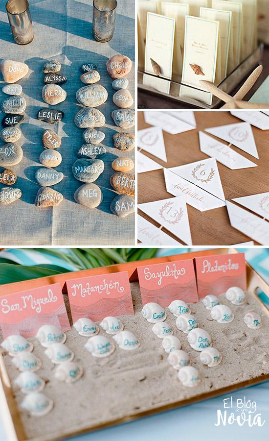 Ideas para indicar la mesa de los invitados en una boda en la playa