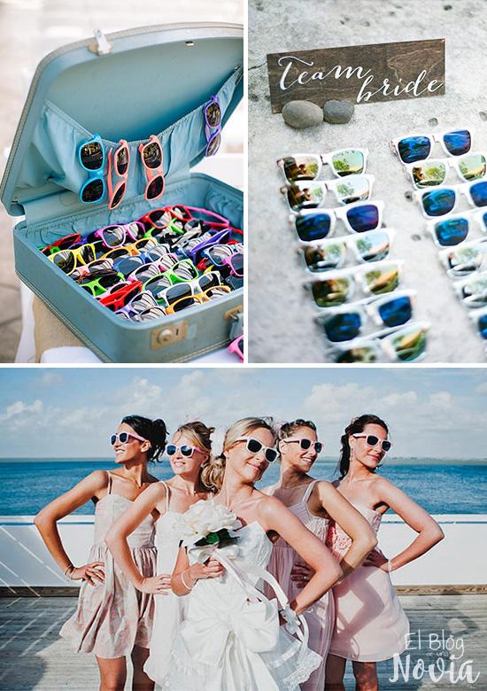 Lentes de sol  para los invitados de una boda en la playa
